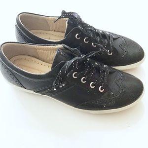 Ecco Black Wingtip slip On Leather Patent Sneakers